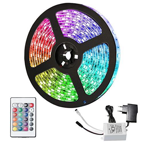 LED Streifen, Hengda LED Strip, RGB 2M 120LEDs SMD 5050 Leds, LED Lichterkette mit 24-Tasten IR Fernbedienung und Netzteil, Led Lichtband LED Band