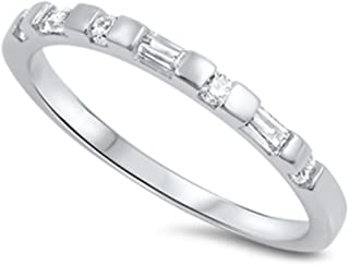 2mm Half Eternity Band Ring Wedding Engagement Baguette Round Cubic Zirconia 925 Sterling Silver 5-10