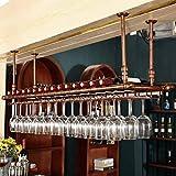 XJZKA Estante para vinos Bar Estante Flotante Soporte para Copas de Vino de Techo Soporte para Botellas invertido de Metal...