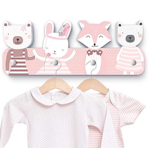 rosa Tierköpfe G7 Kindergarderobe mit 4 Haken, Maße ca.: 40 x 15 x 1 cm, Wandgarderobe, Kleiderhaken, Wandhaken, Kindermöbel, Garderobenhaken, Kinderzimmer