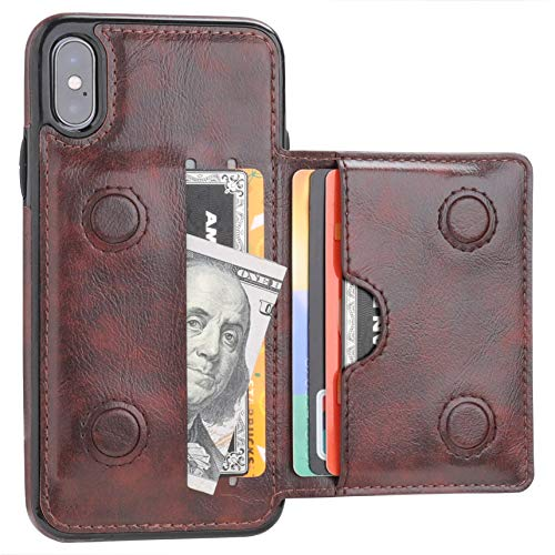 KIHUWEY iPhone Xs Wallet Case iPhone X Wallet Case Credit Card Holder, Premium Leather Kickstand Durable Shockproof Protective Cover iPhone X/Xs 5.8 Inch(Brown)