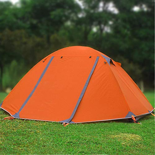 DRGRG Outdoor Tent Aluminum Pole 2 Person Wild Anti- Wind Waterproof Camping Bivy Tent Hiking Backpacking Tent Orange