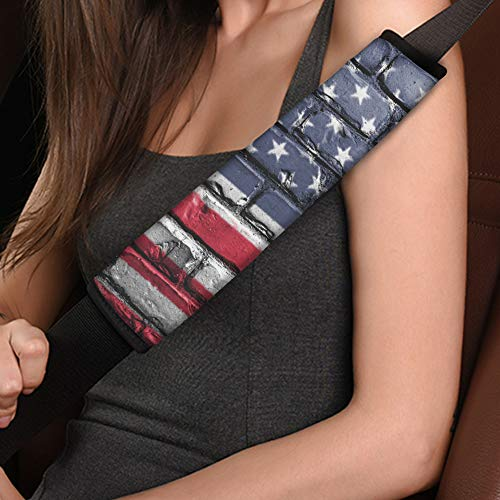 Cozeyat 2pcs Seat Belt Covers, American National US Flag Soft Car Belt Protector Shoulder Seatbelt Pad for Adults Youth Kids, Fit for Car and Backpack Straps