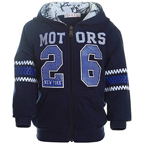 Jungen Kapuzen Pullover Hoodie Pulli Kinder Jacke Sweat-Shirt Sweat-Jacke 21419 Navy 140 (Herstellergrösse 134-140)