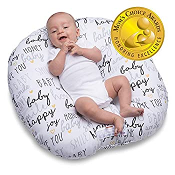 Boppy Newborn Lounger—Original | Lightweight Plush Chair with Carrying Handle | Infant Seat for Awake Time | Wipeable and Machine Washable | Black and White with Gold Hearts Hello Baby