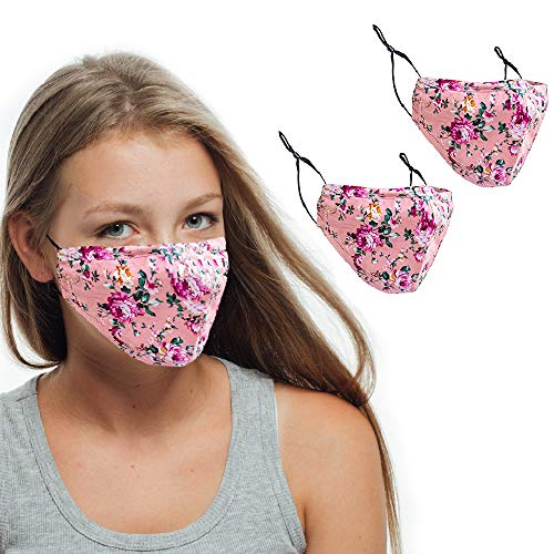 3-Ply Cotton Face Masks. Reusable and Washable Fabric Face Coverings with Adjustable Ear Loops and Nose Wire. Pack of 2. UK SELLER