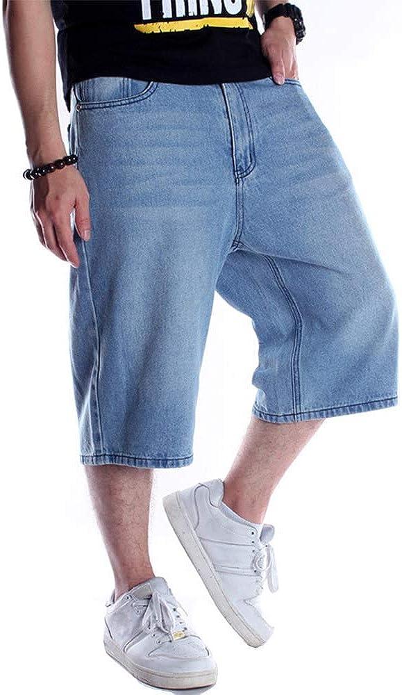 Kinghua Baggy Jean Shorts for Men Casual Loose Fit Hip Hop Skateboard Denim Shorts