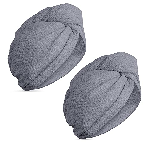 Navaris 2x Haarturban Mikrofaser mit Knopf - Haartuch Turban für den Kopf - Kopfhandtuch 2 Stück Set schnelltrocknend - Waffelstruktur in Dunkelgrau