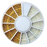AtheMeet 1 Set Caviar Nails Art 2 Colores Mini Bola de Acero Bead Beads Nails 3D Decoraciones de Belleza Herramienta de Accesorios de manicura (01)