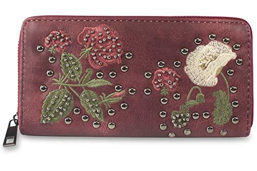 fashionchimp ® XXL Damen Geldbörse, Florale Blumen Stickerei mit Nieten-Besatz (Rot)