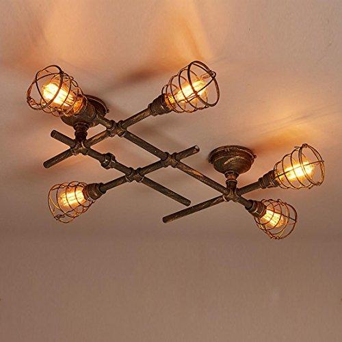 Deckleuchte Loft Retro Vintage Industrielampe Deckenlampe E27 Kreativ Antik 5-Flammig Deckenstrahler Leuchter Metall Wasserrohr Decke Lampe Innen Beleuchtung für Wohnzimmer Schlafzimmer Balkon Bar