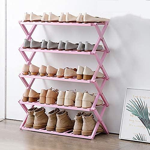 HHTX Estante Organizador de Zapatos de bambú de 5 Niveles, Plegable, portátil, Independiente, Estante de Almacenamiento de Zapatos para Entrada de Armario, Pasillo, Maceta, Soporte, Color Rosa.6
