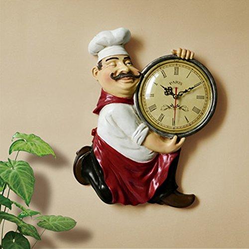 CivilWeaEU- Creative Européen Cartoon Chef Cuisine Table à Manger Horloge Horloge