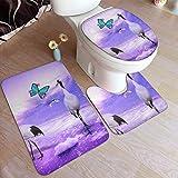 SXCVD Galaxy Sandhill Crane Fashion Bathroom Rug Mats Set 3 Piece Anti-Skid Pads Bath Mat + Contour + Toilet Lid Cover