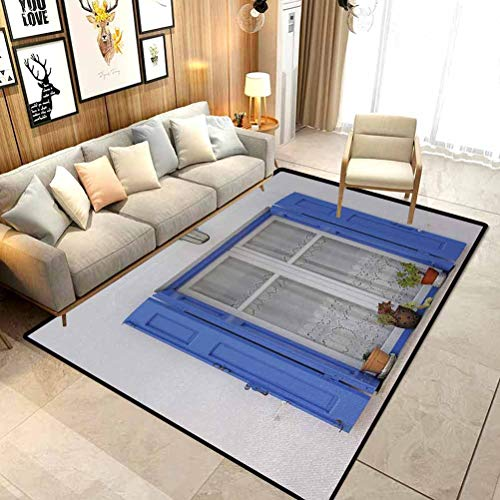 Country Bath Rugs Non-Slip Entry Rug Typical Greek Style Wooden Window Shutters with Flowers Mediterranean Decor Chair mat for Carpet White Tuquoise W6x L8.8 Ft