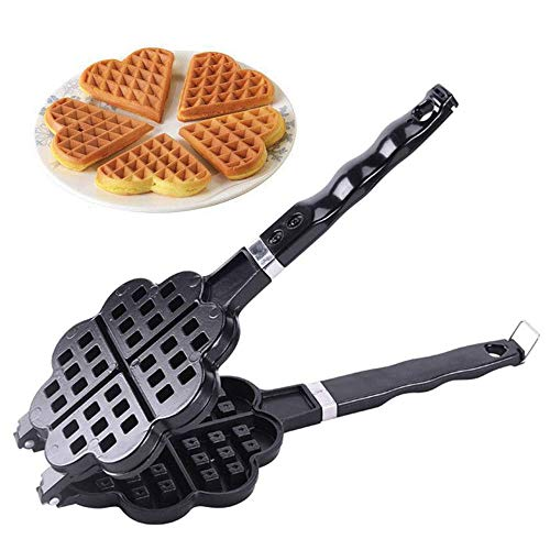 stovetop waffle pans 2 Heart-Shape Waffle, Non-Stick Surface, Stay-Cool Handle for Stovetop or Campfire, Stovetop Cast Alluminium Waffle Iron Makers Mode, for Valentine'S Day, Kitchen Gas