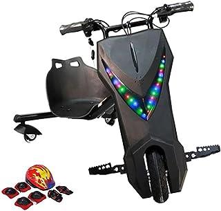 سكوتر دريفت كهربائي ثلاثي العجلات من ليمودو ببطارية بقدرة 36 فولت مع طقم خوذة وواقي ركبة وواقي مرفق، اسود، E400