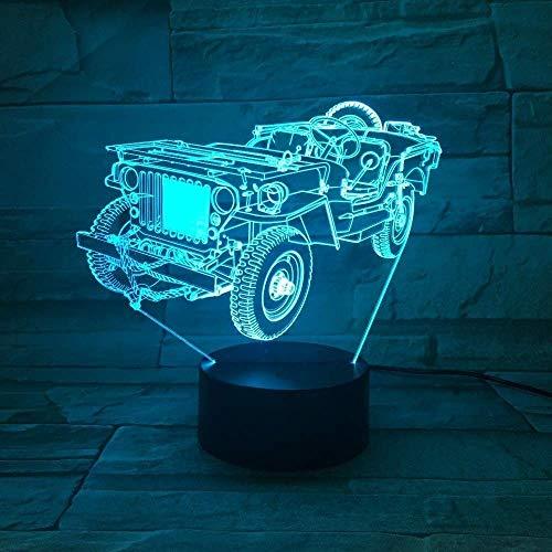 Ilusión 3D Luz De Noche 7 Colores Fuente De Led Viejo Jeep Mesa De Coche Decoración De Dormitorio Mesa Acrílico Dormitorio Cumpleaños Niño Sueño Colorido Regalo Creativo