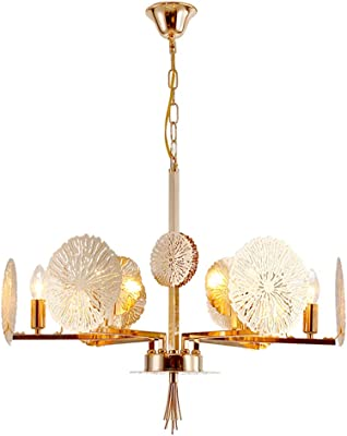 6 Lights Living Room Pendant Contemporary Gold Chandelier