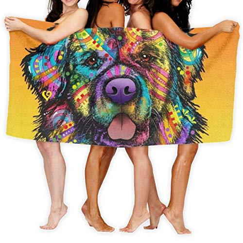 Toallas de playa, arte colorido lindo labrador cachorro de gran tamaño de microfibra súper absorbente de personalidad toalla de baño toalla de playa toalla de 70 x 140 cm