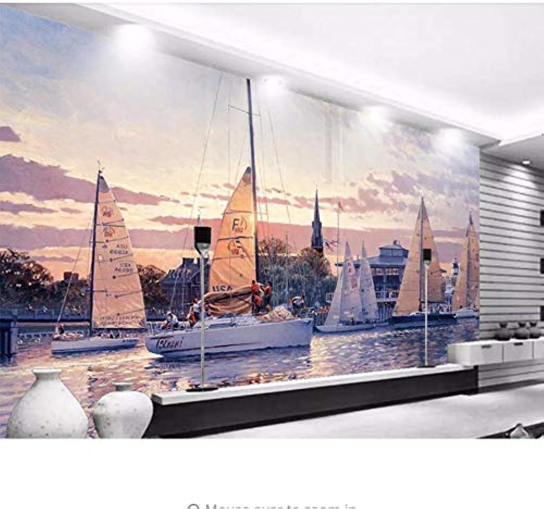 orden en línea Wiwhy Fondo De Pantalla Personalizado 3D Hermoso Paisaje Paisaje Paisaje Mar Vela Fondo De La Parojo Decoración De La Sala De Estar Mural Papel Tapiz-200X140Cm  alta calidad