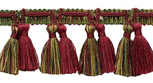 DecoPro 64 mm Franges Trim|Cherry Rouge, Vert Olive, Jaune doré, Black|Style # Tfv025|Color : Evergreen Berries – Vnt19|Sold by The Yard (0,9 m = 91 cm/0,9 m/91,4 cm)