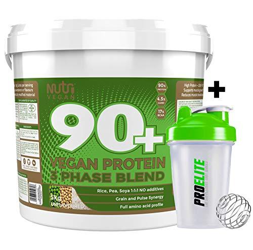 Nutrisport 90+ Plus Vegan 3 Phase Protein Blend 5kg / 5000g Unflavoured + Shaker Bottle
