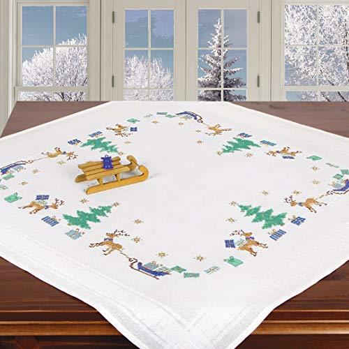 Ernst Schäfer Stickpackung HIRSCHE UND Schlitten, Kreuzstich Tischdecken Set vorgezeichnet zum Sticken, Stickset zum Selbersticken zur Adventszeit und Weihnachten