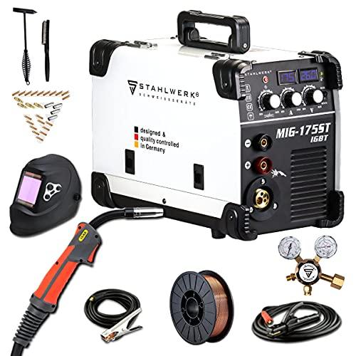 STAHLWERK MIG 175 ST IGBT - equipo completo - máquina de soldar MIG MAG con 175 A, adecuada para FLUX, MMA soldadura de electrodos, 7 años de garantía