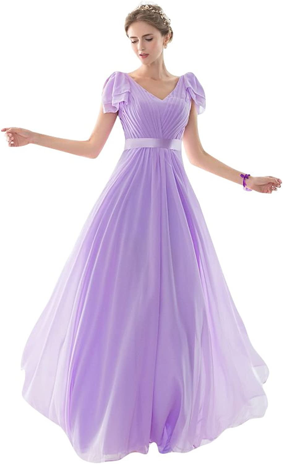 BeautyEmily Long Tulle Boat Neck Halter Bridemaid Gown