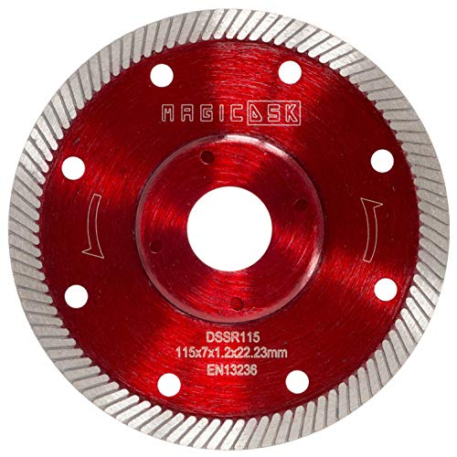 MAGICDSK DSSR115 Disco diamantato turbo sottile professionale, rinforzato, Ø 115 mm, foro 22,23 mm, taglio a secco: gres porcellanato, graniti, ceramica, quarzite