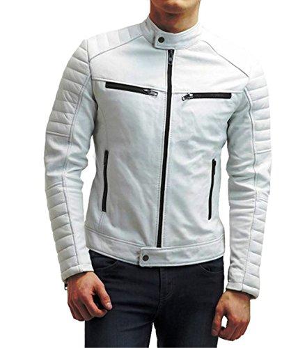 Men's Biker Leather Jacket Short Lambskin Zipper Closure Winter Cover Ups Vintage
