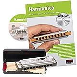 CASCHA Harmonica set débutant avec livre en anglais, apprenez à jouer de l'harmonica blues, y compris étui, tissu et manuel, harmonica en do majeur