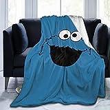"Ultra Soft Flannel Fleece Throw Blanket Cookie Monster All Season Lightweight Living Room Bedroom Sofa Quilt 80""X60""for Adult"