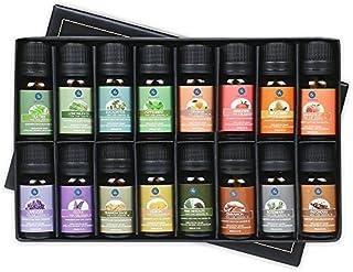 Lagunamoon Huiles essentielles 100% Pure 16 x 10ML Lavande, Arbre à Thé,Eucalyptus, Menthe poivrée et Autres pour Humidifi...