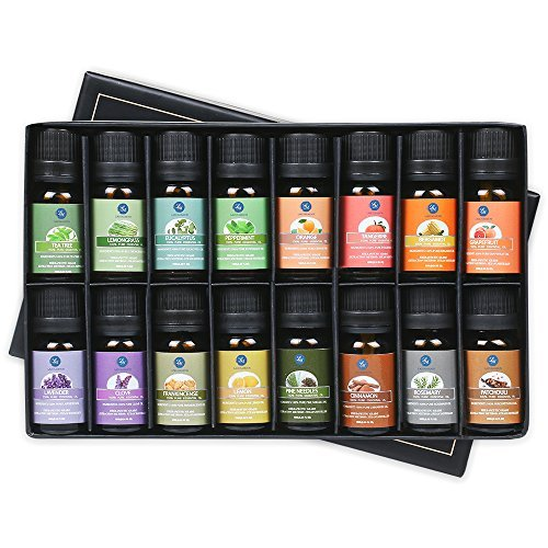Lagunamoon Huiles essentielles 100% Pure 16 x 10ML Lavande, Arbre à Thé,Eucalyptus, Menthe poivrée et Autres pour Humidificateur Diffiseur,Massage, Soins de la Peau et des Cheveux