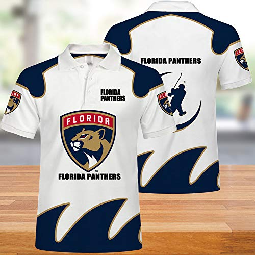 NHL Polo Shirt, Florida Jaguar Team, 3D gedruckte Enge Ärmel, Sommer Männer und Frauen lässig Klassische Mode T-Shirt
