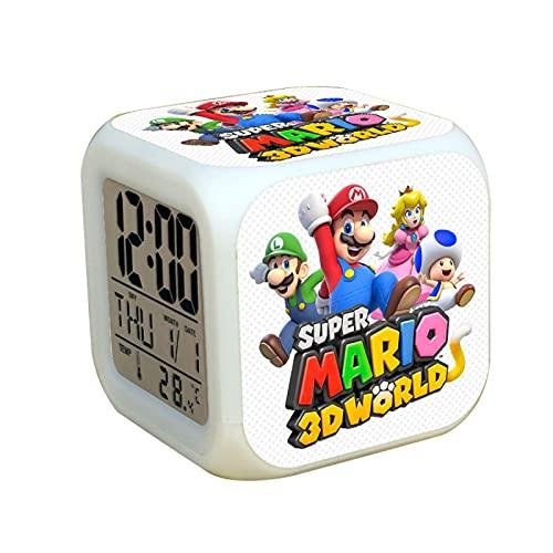 Super Mary reloj despertador Super Mario Bros reloj despertador regalo de cumpleaños luz LED para niños