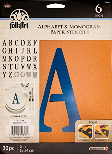 FolkArt Plaid Stencil Folk-art Paper Alphabet & Monogram Serif 6', 6'