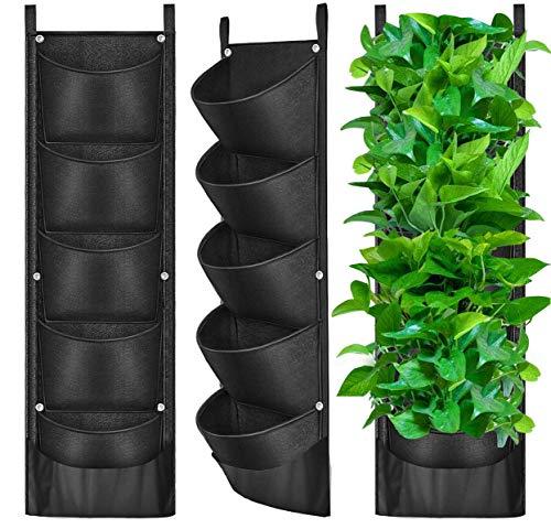 ANIKEY 5 Bolsa vertical colgante para plantar, no solo puede contener más tierra, sino que también se puede instalar en cualquier lugar dentro o fuera