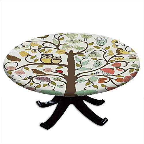 Animals Round Tablecloth with Elastic Edges, Retro Style Tree with Flowers Bugs and Bees Owl Birds Insects Vintage, Printing Design, Fits Tables 24' - 28' Diameter Almond Green Eggshell