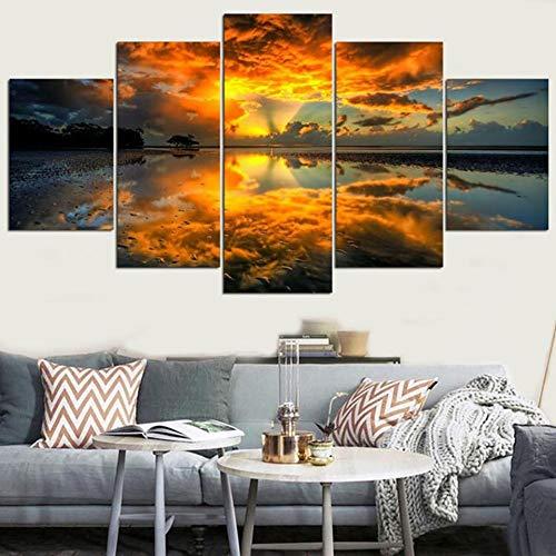 Tong99 Decoratieve wand kunstwerk afbeelding canvas 5 planken zonsopgang natuur landschap modern hd gedrukt schilderij modulair affiche L-30x40 30x60 30x80cm Geen lijst