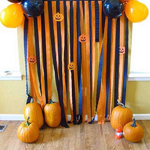 OLUYNG 10 bobinas Fiesta de Halloween Cortina de Flecos Negra y AnaranjadaDecoraciones de PuertasColgantes de HalloweenDecoraciones de Papel crepé Telón de Fondo