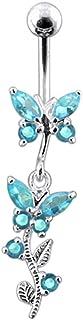 Piercing per Ombelico a Forma di Farfalla in Argento Sterling con Pietra di Cristallo