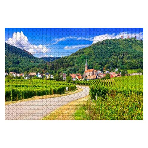 Alsace Region of France Famous Vine Route Beautiful Vineyards 1000 Piece Wooden Jigsaw Puzzle DIY Children Educational Puzzles Adult Decompression Gift Creative Games Toys Puzzles Home Decor