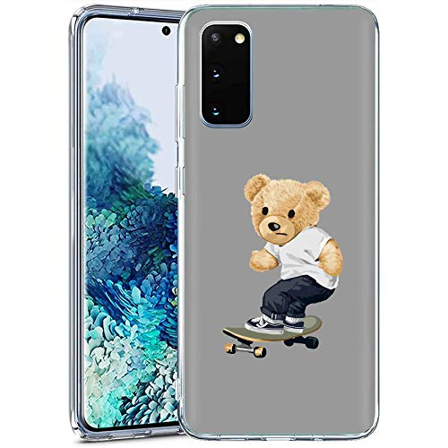 TalkingCase Clear Phone Case for Samsung Galaxy S20 FE 4G/5G, S20 FE 5G UW, (Not S20), Thrasher Teddy Print, Light Weight,Flexible,Soft Touch Cover,Anti-Scratch, Designed in USA