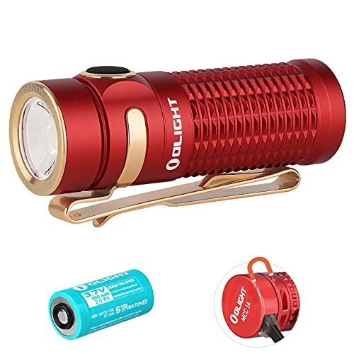 Olight Baton 3 Linterna LED Recargable Pequeño,1200 Lumens 6 Modos Impermeable IPX8,Mini Linterna LED alta Potencia profesional para Camping, Batería 16340 y estuche de batería Tidusky (Rojo)