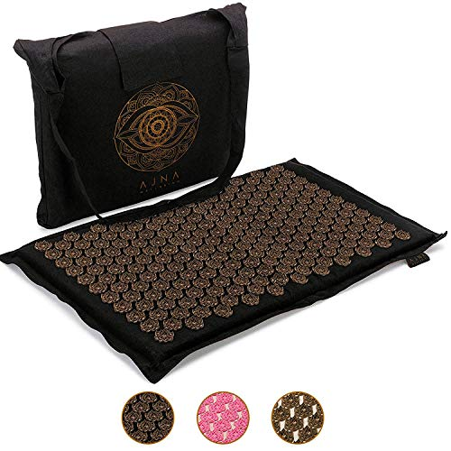 Ajna Acupressure Mat for Massage - Natural Organic Linen Cotton Acupuncture Mat & Bag - Back Pain Relief, Neck Pain Relief, Stress Reliever, Reflexology,Sciatica, Trigger Point Therapy (Midnight)