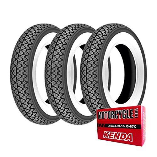 Kenda K33 - Lot de trois pneus 3.00-10 42J et chambres à air pour Vespa 50 Special