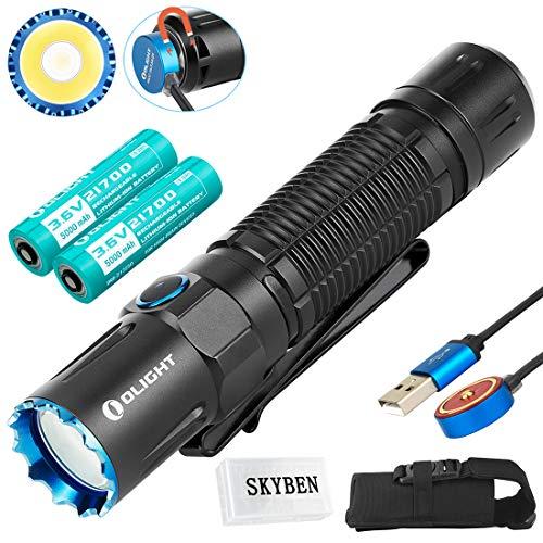Olight オーライト M2R Pro Warrior ブラック 1800高ルーメン led懐中電灯・ホワイトLED 最強 ルーメン ライト・7個段階切替 フラッシュライト 強力・充電と電池残容量インジケーター持ち ハンディライト・2個*21700 5000mAh充電電池付き・IPX8防水・高輝度 ハイ・パワー 懐中電灯 LED 強力 充電式 (2個*21700 5000mAh充電電池付きのM2R Pro)